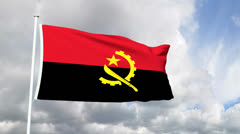 Flag of the Republic of Angola - stock footage