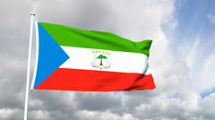 Flag from Equatorial Guinea Stock Footage