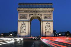 Arc de triomphe by night Stock Photos