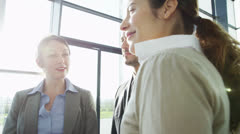 Attractive diverse business team in a light modern office building Stock Footage