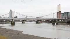 Chelsea Bridge with Battersea Power Station - stock footage