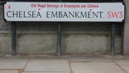 Stock Video Footage of Chelsea Embankment sign pull focus