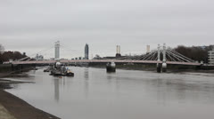 Albert Bridge wide shot Stock Footage