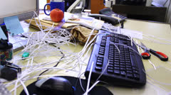 Mess in the office - stock footage