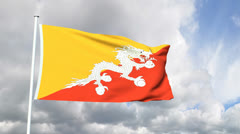 Flag from the Republic of Bhutan - stock footage