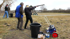 Clay target shooting Stock Footage