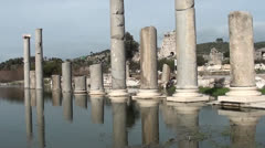 Ruining columns in water 2 Stock Footage