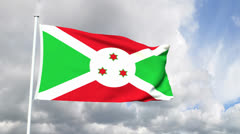Flag of Burundi Stock Footage