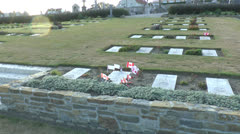 Burial place of war poet Lt.-Col. John McCrae, Wimereux Communal Cemetery - stock footage