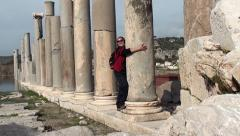 Posing with columns Stock Footage