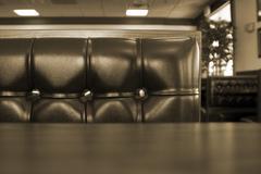 Close up on a chrome restaurant booth Stock Photos