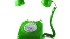 Stock Video Footage of Receiver falling on green dial phone