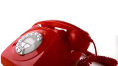 Stock Video Footage of Red phone receiver dropping on dial phone
