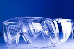 Blue Safety Glasses - stock photo