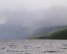Rain shower above Lake McDonald, Glacier National Park Stock Footage