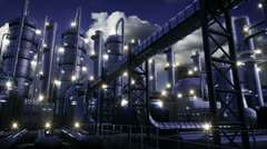 Chemical Plant at night Stock Footage