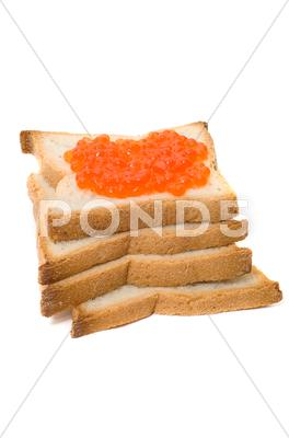 Stock photo of bread and  red caviar