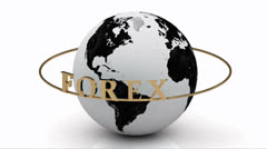 Revolving around the earth gold lettering FOREX on a gold ring Stock Footage