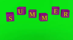 SUMMER inscription bright yellow letters on lilac cubes rotating in the air Stock Footage