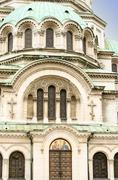a door, an arch and a dome of the alexander nevsky cathedral, sofia, bulgaria - stock photo