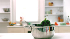 Stock Video Footage of Green pepper falling in saucepan in kitchen