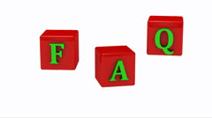 FAQ inscription on rotating cubes - stock footage