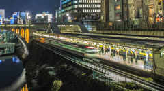 Time lapse of a busy train station in Tokyo, Japan Stock Footage