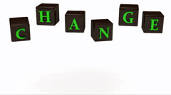 CHANGE inscription bright green letters Stock Footage