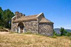 romanesque church of sant miquel de colera, catalonia, spain - stock photo