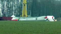 preparing wind rotor for montage - stock footage