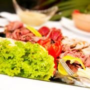 Colorful food on table. Stock Photos