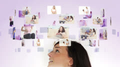 Woman pondering various maternity situations Stock Footage
