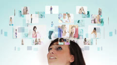 Woman pondering various retail and lifestyle situations Stock Footage