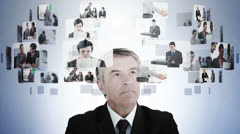 Businessman pondering various business situations Stock Footage