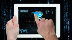 Hands using digital tablet displaying call centre workers Stock Footage