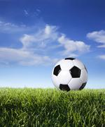 Profile of soccer ball in grass against blue sky Stock Photos