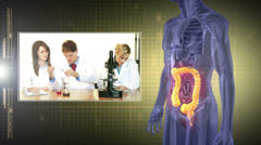 Revolving human figure with montage of medical clips Stock Footage