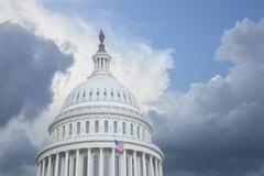 Us capitol dome under stormy skies Stock Photos