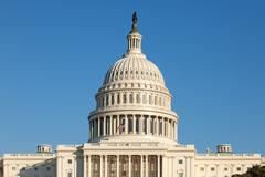 u.s. capitol dome rear face on sunny winter day blue sky - stock photo