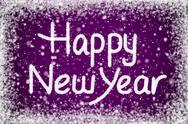 Happy new year message on purple snow background Stock Illustration
