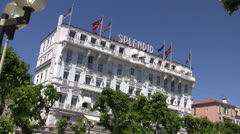 Hotel Splendid Cannes Establisher Stock Footage