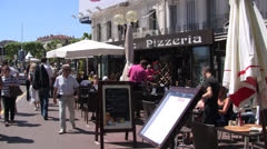 Establisher Pizzeria Pizza Restaurant in Cannes France Stock Footage