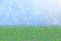 Spring background blue sky green grass flowers Stock Illustration
