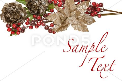Stock Illustration of sparkly pewter flowers shiny red berries and gold leaves border