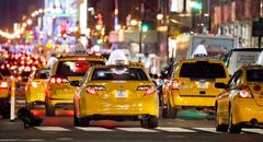 new york city, usa-september 22, 2012 : eight avenue, featured with taxi cabs - stock photo