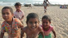 Children from a fishing village India Stock Footage