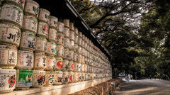 Time lapse of the Sake crates near the Meji Shrine in Tokyo - stock footage