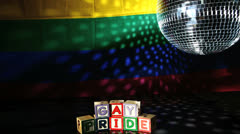 Gay pride blocks at the disco Stock Footage