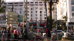 Tracking Shot from Car Crowded Cannes street during film festival - stock footage