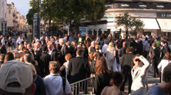 Crowded Cannes street during film festival Stock Footage